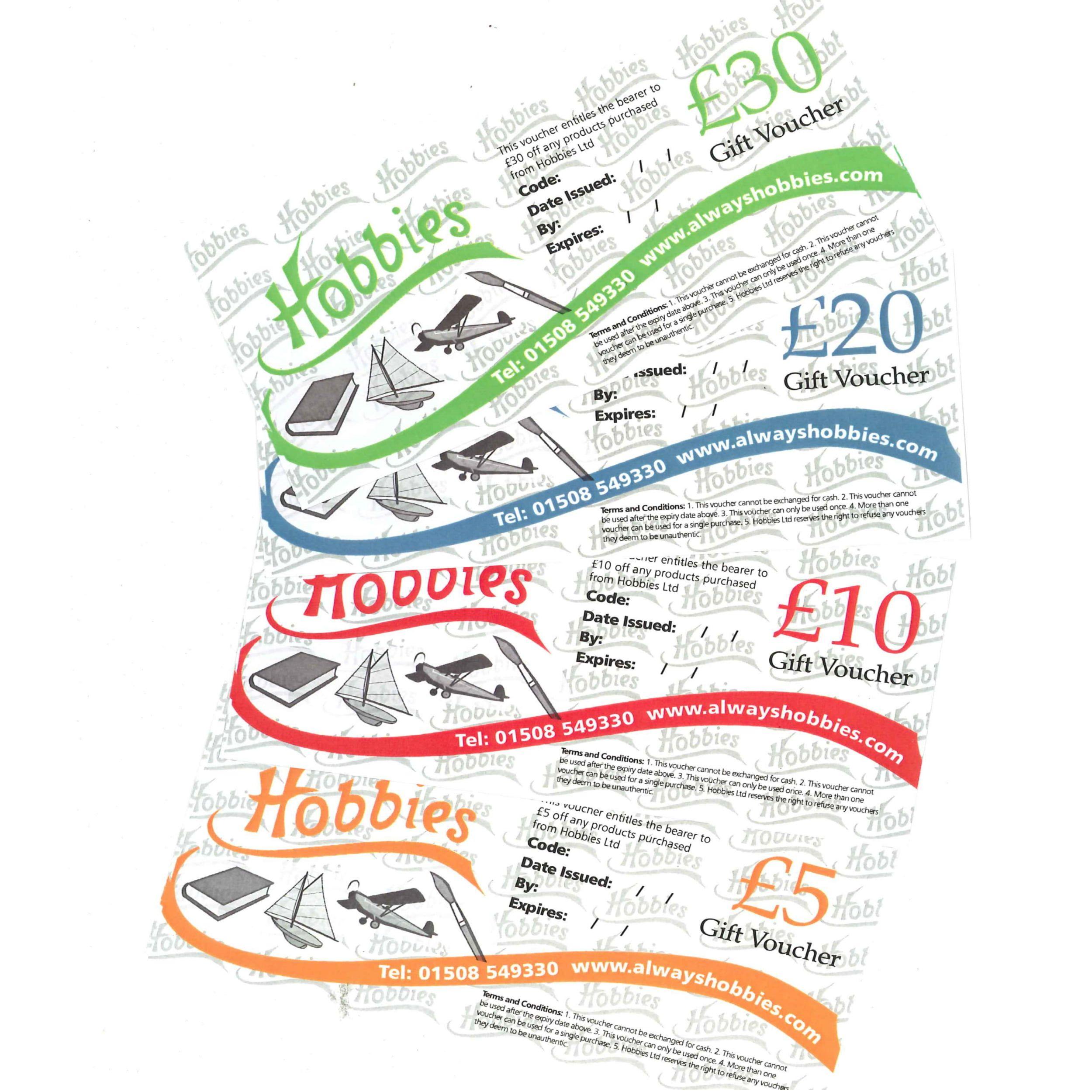 Hobbies Gift Vouchers - £5