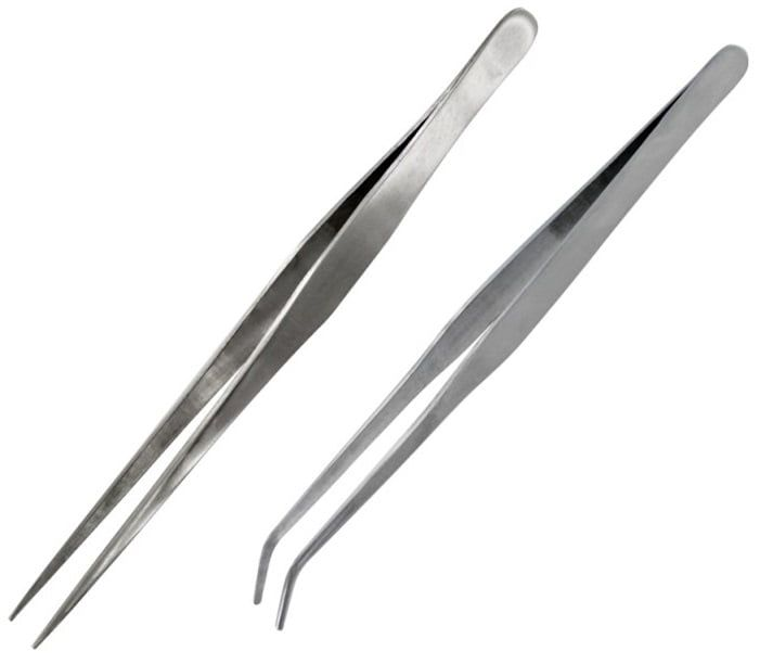 Hobbies Curved and Straight Tip Strong Stainless Steel Tweezers