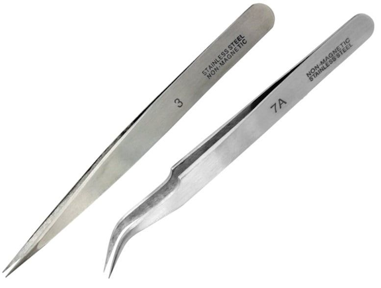 Hobbies Fine Straight and Extra Fine Curved Stainless Steel Tweezers