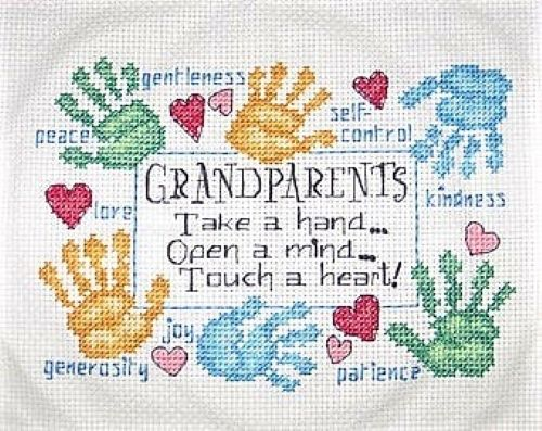 Cross Stitch - Grandparents Touch a Heart