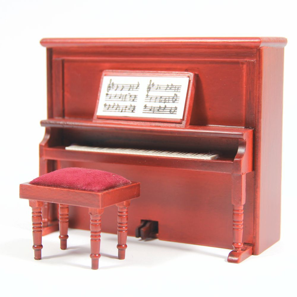 Mahogany Upright Piano for 12th Scale Dolls House