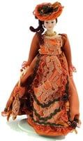 12th Scale Porcelain Victorian Lady in Russet Dress