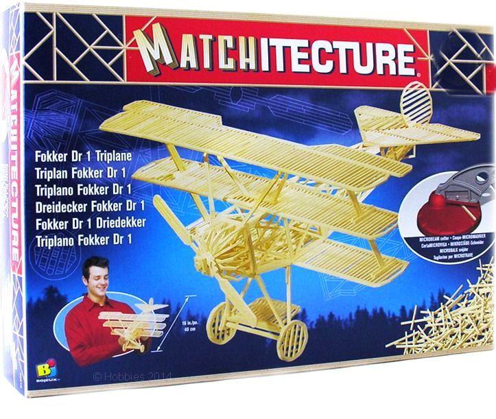 Matchitecture Fokker DR1 Triplane World War I fighter aircraft Matchstick Kit