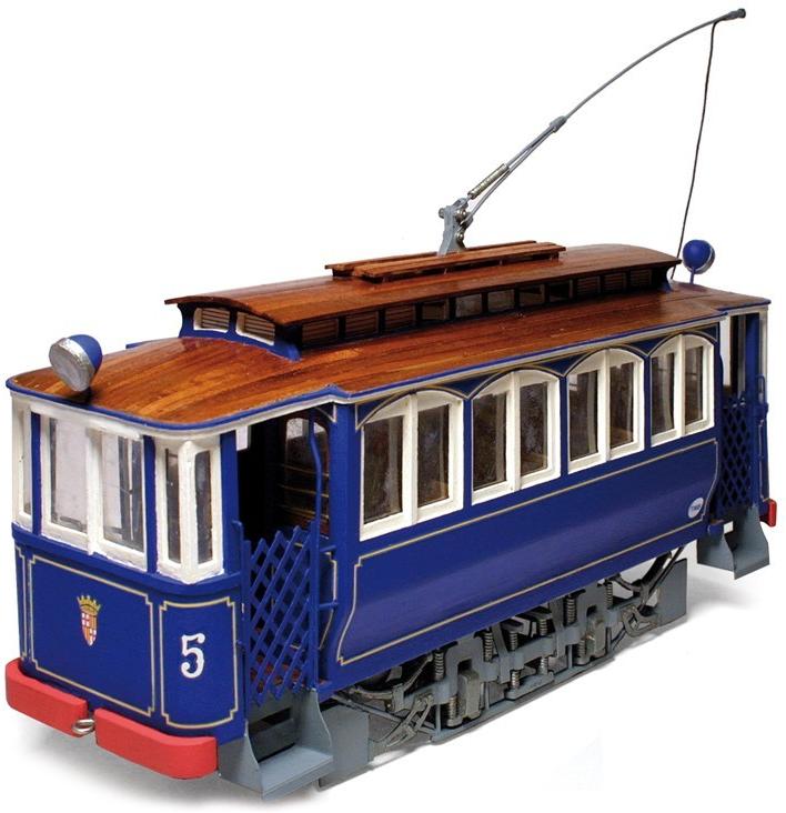 Occre Barcelona Tramvia Blau Tibidabo Tram 1:24 Scale Wood and Metal Model Kit