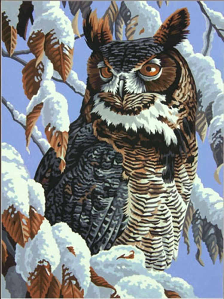 """Paintsworks Great Horned Owl Winter Watch Paint by Numbers 11"""" x 14"""""""