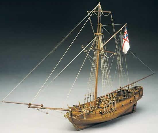 Mantua Models HMS Sharke Model Ship Kit - Optional Pre-stitched Sail Set