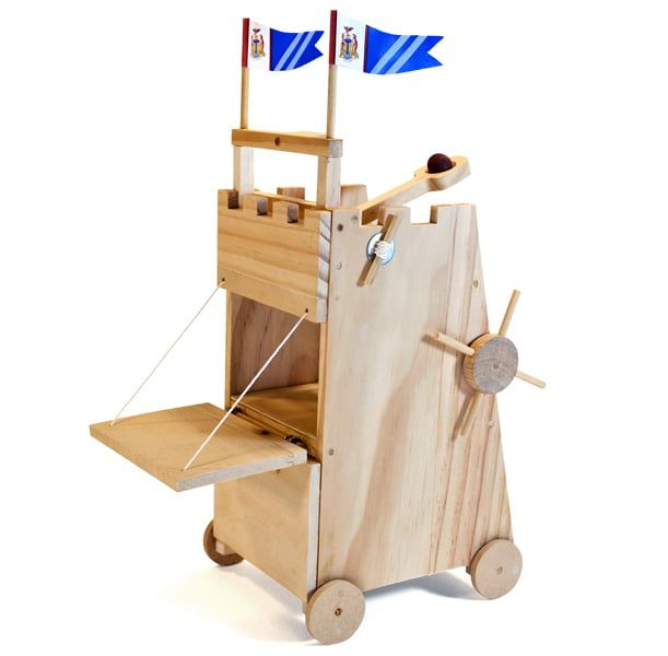 Pathfinders Medieval Siege Tower with Catapult Wood Kit