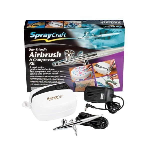 Spraycraft Airbrush and Compressor Kit User Friendly for Cake Decorating, Crafts, Toys, Signs and More