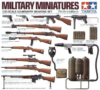 Tamiya US Infantry Weapons and Accessories Set 35th Scale Military Miniatures Detailed Plastic Model Kit