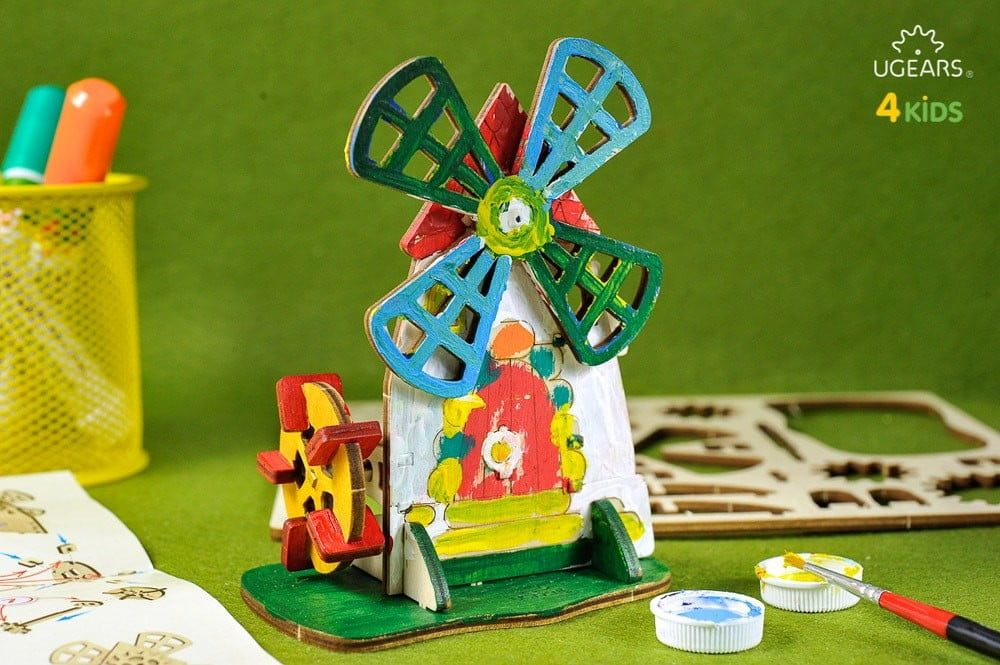 UGears 3D Colouring Model Mill