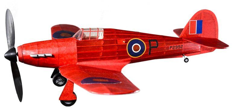 The Vintage Model Co. Hawker Hurricane Red Balsa Plane Kit