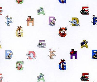 Pastel Alphabety Wallpaper 420 x 297mm for Dolls House