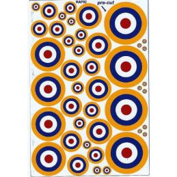 RAF Roundels (R,W,B and Y Type 1A) - Twin Packs Various Sizes