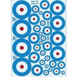 RAF Roundels (R,W and L B Type A) Twin Packs - Various Sizes