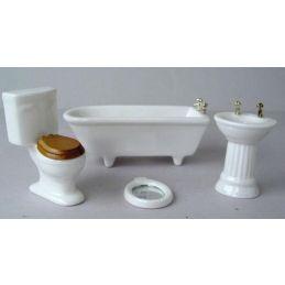 12th Scale Dolls House Ceramic White Bathroom