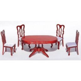 Deluxe Oval Table and 4 Chairs Dark Mahogany Wood