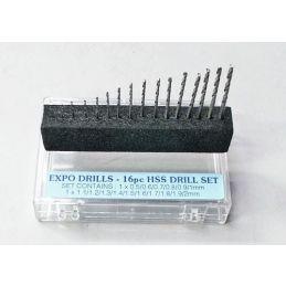 16 Piece HSS Drill Bit Set 0.5 - 2.0mm in Handy Storage Box