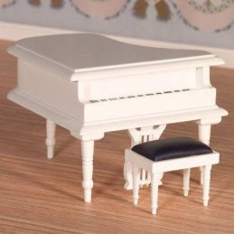 Classical White Grand Piano and Stool
