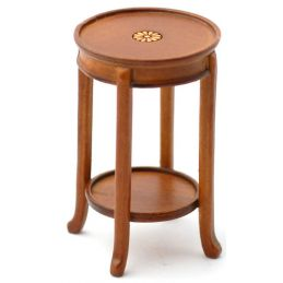 Inlaid Plant Stand Walnut Finish Hall Furniture