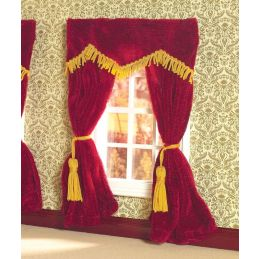Plush Red Velvet Curtains 1 12 Scale for Dolls House