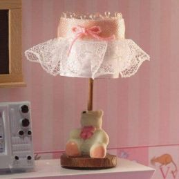 Childrens Bedside Lamp with Bear for 1:12 Scale Dolls House