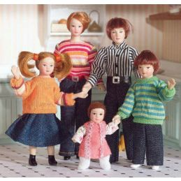 Modern Family of Five Dolls 1:12 Scale for Dolls House