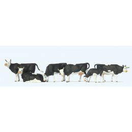 Black/White Cows (6) British OO Scale Figure Set
