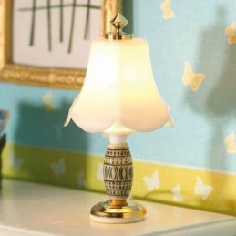 White frosted lamp with decorative ceramic and brass base for 1:12 Scale Dolls House
