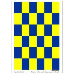 Blue & Yellow Reflective Battenburg Decals - Blue & Yellow Battenburg 1:12