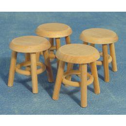 Bare Wood Stools x 4