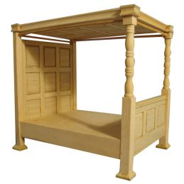 Bare Wood Four Poster Bed