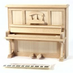 1:12th scale Dolls House Bare Wood Upright Piano