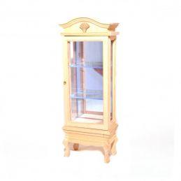 Bare Wood Display Cabinet Glass Shelves