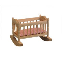 Barewood Cradle and Pink Mattress