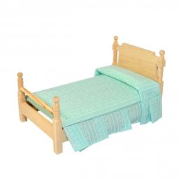 1:12 Scale Single Bed with Turquoise Bedding