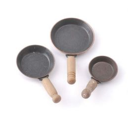 Set of 3 Frying Pans 1 12 Scale for Dolls House Kitchen