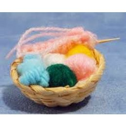 Knitting Basket with Wool and Needles in Basket