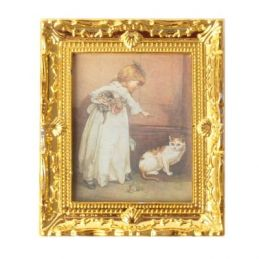 Gold Framed Child and Pet Picture 1