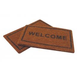 Welcome Mat and Plain Coir Style Doormat