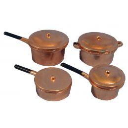 Copper Saucepans x 4