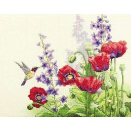 Cross Stitch - Hummingbird and Poppies