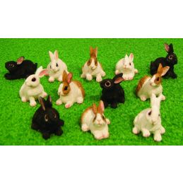 Miniature 12 Assorted Rabbits 12th Scale