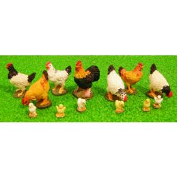 Miniature 12th Scale Assorted Chickens (13)