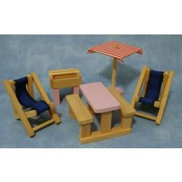 Painted Woodblock Play Furniture Sets (Not to Scale)