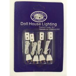 4 x Single Sockets and Flex For Dolls House Lighting