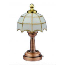 1:12th Scale Dolls House 3V LED White Tiffany Table Lamp