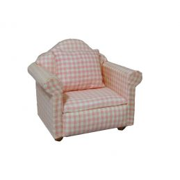 Pink Pattern Armchair 1 12 Scale for Dolls House