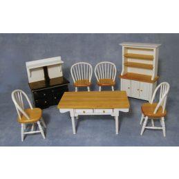 White and Pine Kitchen Set