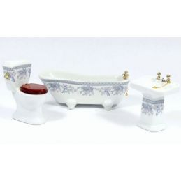 Blue Floral Bathroom Suite Set with Gold Fittings