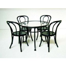 Patio Furniture Set with Glass Top Table and 4 Chairs